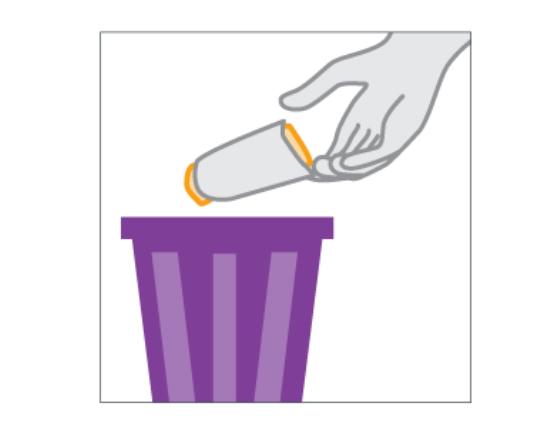 Bỏ bao cao su đã sử dụng vào thùng rác
